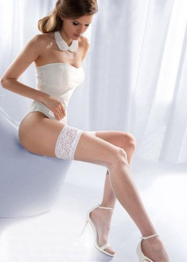 Angels Passion Beyaz Dantelli Fileli Jartiyer Çorap