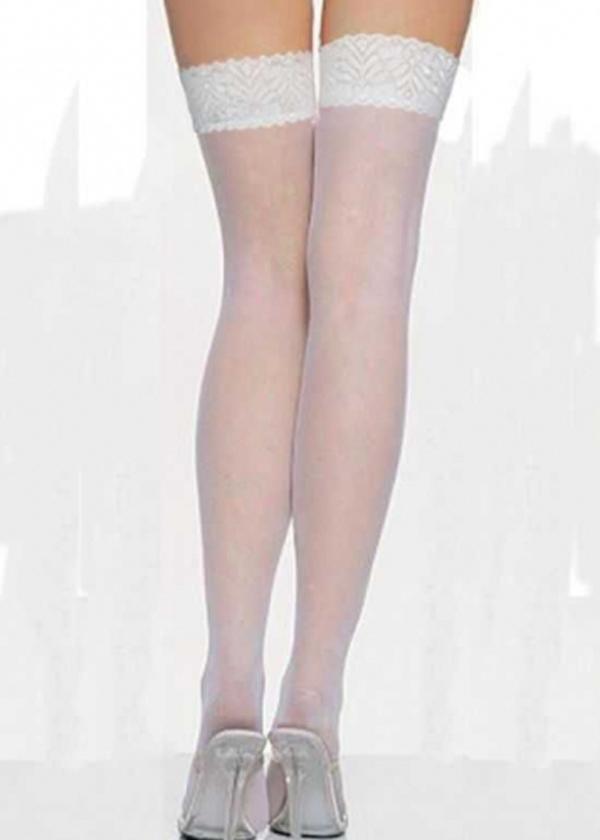 Angels Passion Beyaz Dantelli Jartiyer Çorap