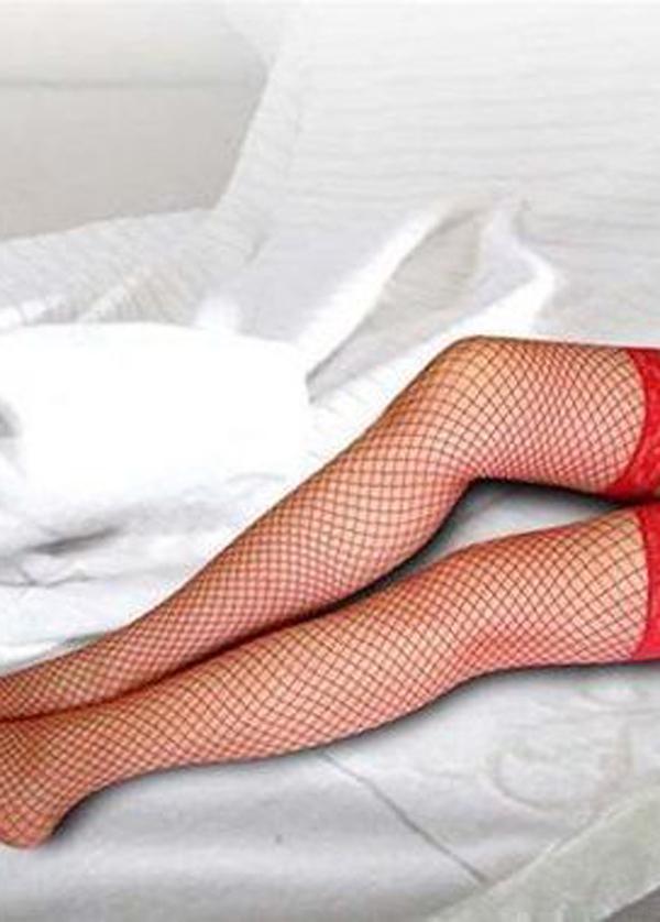 Angels Passion Kırmızı Üstü Dantel Fileli Jartiyer Çorap